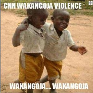 """Photo by @AmStellaMwangi. English translation by Daniel Mwesigwa: """"CNN waited(to report) for violence…they waited and waited(perhaps for forever)"""""""