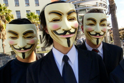 Anonymous at a protest in Los Angeles in 2008.