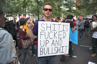 Infamous sign from Occupy Wall Street.